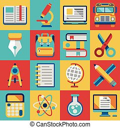 School and college education modern flat icons