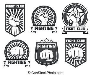 Fight club with fist vintage labels, logos, emblems vector...