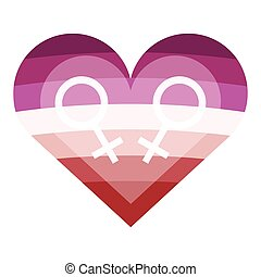 Lesbian flag colors heart. Nice and simple illustration