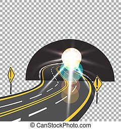 The road to the future passes through the tunnel. Danger. Bright sunlight. illustration.