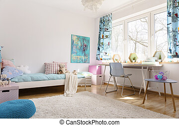 Soothing power of pastel colors - Teenager room with a space...