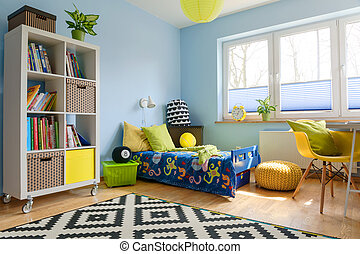 Perfect place to be a child - Child room with a bookstand,...