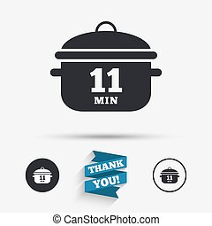 Boil 11 minutes. Cooking pan sign. Stew food - Boil 11...
