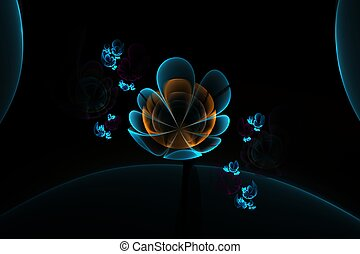 Abstract 3d flowers. Creative fractal design in blue and orange colors