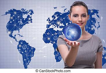 概念, 旅行, 全球, 婦女