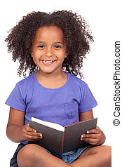 Student little girl reading with a book