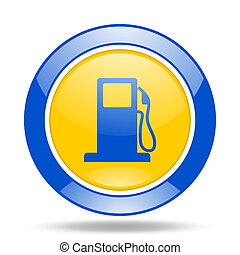 petrol blue and yellow web glossy round icon - petrol round...