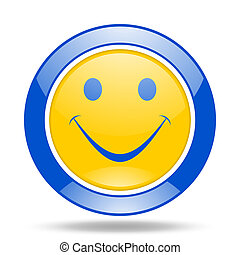smile blue and yellow web glossy round icon - smile round...