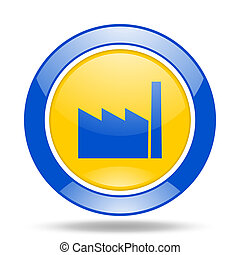 factory blue and yellow web glossy round icon - factory...
