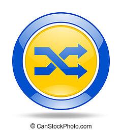 aleatory blue and yellow web glossy round icon - aleatory...