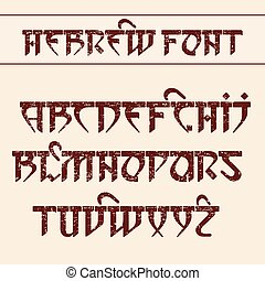 Hebrew style font. - Vector font in Hebrew style with the...