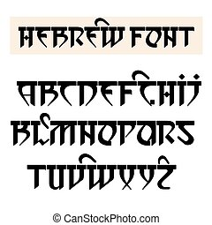 Hebrew style font. - Vector font in Hebrew style. Stylized...