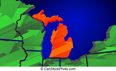 Michigan Map United States America Growth Increase Improve...