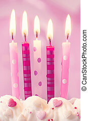 Pink birthday candles
