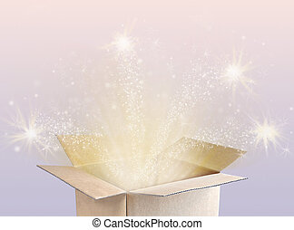 Open magic gift box. Holidays concept. copy space