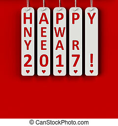 Happy new year 2017 on the metal labels, three-dimensional...