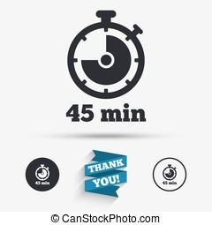 Timer sign icon 45 minutes stopwatch symbol Flat icons...