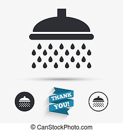 Shower sign icon. Douche with water drops symbol. Flat...