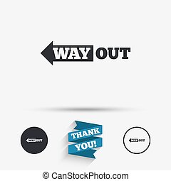 Way out left sign icon. Arrow symbol. Flat icons. Buttons...