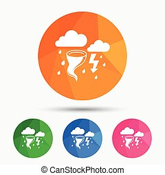 Storm bad weather sign icon. Gale hurricane. - Storm bad...