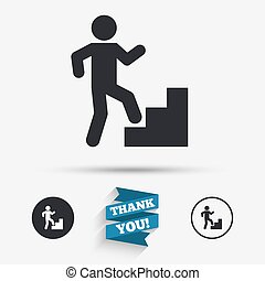 Upstairs icon Human walking on ladder sign Flat icons...