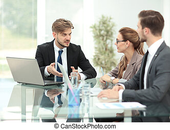 Business meeting at the table with computer - Business team...