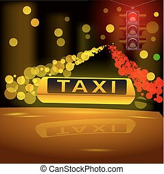 Glowing yellow taxi sign on the roof of the car in the night city.