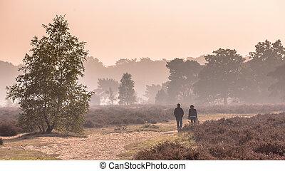 Panorama of Couple strolling through heathland under autumn...