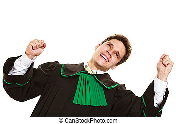 Happy male lawyer hold hands in air - Successful life....