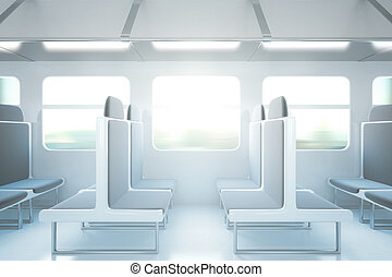 Passenger train interior side - Empty passenger train...