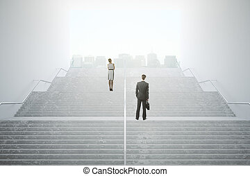 Businesspeople on success staircase - Success concept with...