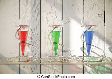 Glass vessels with liquid - Three glass vessels with...