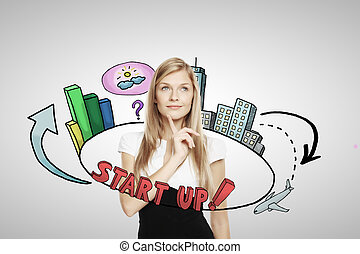 Entrepreneurship concept - Thoughtful young businesswoman...