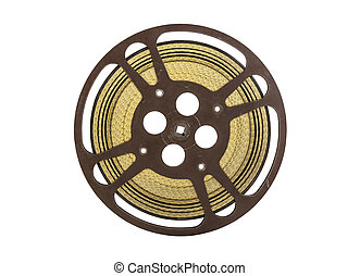 Vintage 16 mm Movie Film Reel Isolated on White - Vintage 16...