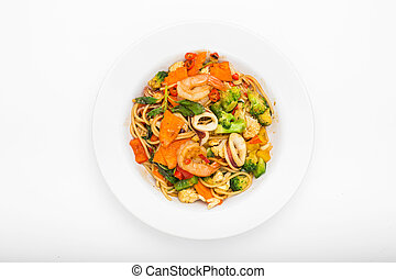 Spaghetti with spicy seafood or Phad Kee Mao Spaghetti on...