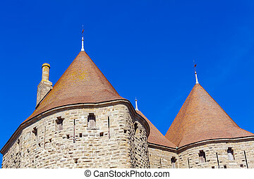 Towers of Medieval Castle, Carcassonne - Walls and towers of...