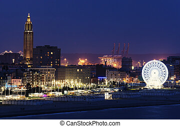Panorama of Le Havre at night. Le Havre, Normandy, France