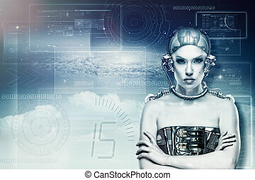 Modified human, female portrait with computer code page as...