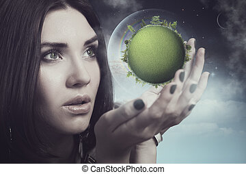Our future is in human hands, eco concept with female...