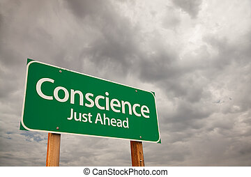 Conscience Green Road Sign Over Storm Clouds - Conscience...