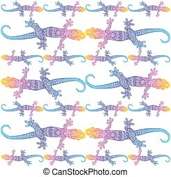 Vector gecko silhouettes with ethno doodle ornament - Vector...
