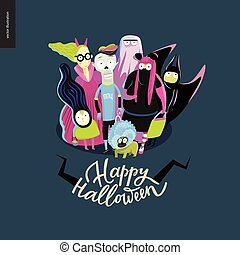 Happy Halloween greeting card with lettering. Vector cartoon...
