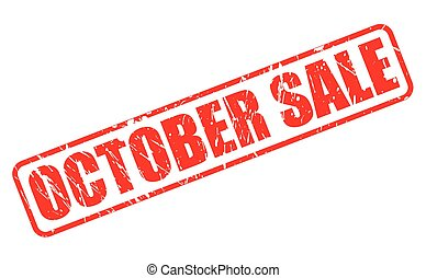 OCTOBER SALE red stamp text on white