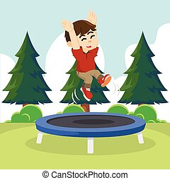 boy cheerful jumping on trampoline
