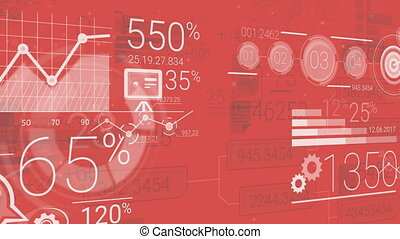 Red Corporate Background With Abstract Elements Of...
