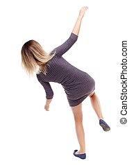 Balancing young woman. or dodge falling woman. Isolated over...