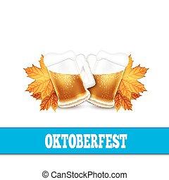 Oktoberfest vector illustration. Two beer mugs on the white back