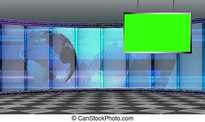 News TV Studio Set 196- Virtual Green Screen