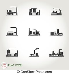 Factory and power plants icon set - Industrial building...
