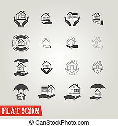 House insurance icons Set - All white areas are cut away...